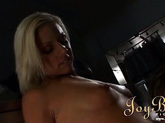 Exciting blonde banged rough in the laundry room