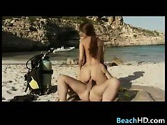 Young Girl Riding Cock At The Beach