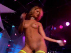 Huge boobs hotties stripped down and dancing in a club