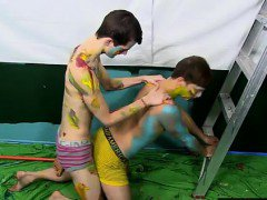 Gay movie of Splashed and smeared with colorful smudges the