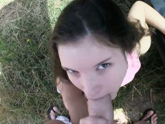 Amateur Anita B railed by stranger guy in public place