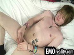 Sexy and shy emo twink with blonde hair and full of piercings