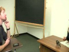 Skanky blonde teacher gets horny and jerks off student