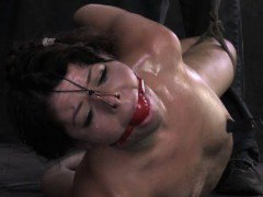 Hogtied submissive skank being mouth gagged