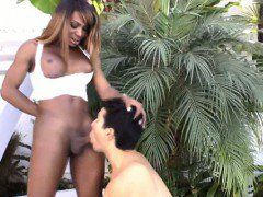 Ebony tranny ts in anal play with white dude