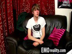 Twink emo teen talks to the camera and takes his clothes off