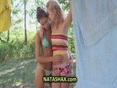 Sexy teen girls in bikini fooling around