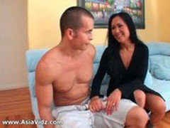 Big breasted Asian nympho Kitty Langdon gives blowjob in POV and gets pussy fuck