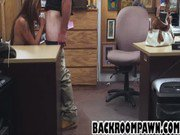 Brunette babe sucks dick and gets fucked in an office