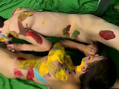 Hot gay scene Splashed and smeared with colorful smudges the