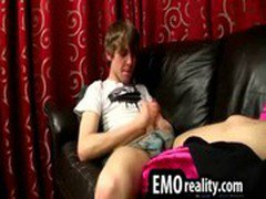 Sexy emo teen in his room taking his clothes off