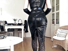 Sissy sexy tight black leather dress 3