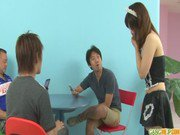 Horny asian maid blowjob for two from Miku Airi
