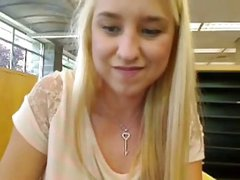 Girl In Library Makes Herself Squirt