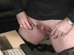 Cute granny huge clit had fun at PC. Amateur older