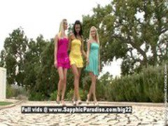 Sally and Crystal and Debby astonished lesbian girls  teasing