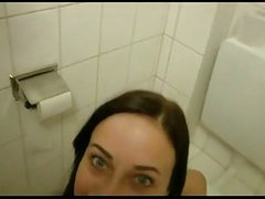 German girl fucking in the toilet with facial