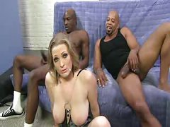 Blonde Bitch fucked hard by black dicks
