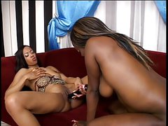 Sexy ebony ladies lick and toy each other's pussies, play with double dildo