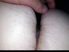 feeling her soft white hairy asscrack in black silk pantys