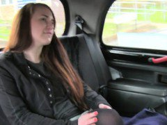 Brown haired amateur doggy style fucked in fake taxi