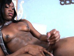 Black amateur shemale solo toy pleasing