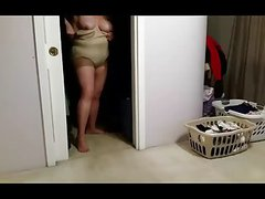bbw wife changes her mind on what girdle to wear, pantyhose.