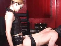 Mistress fucks slave with strapon 4