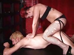 Mistress fucks slave with strapon part 1
