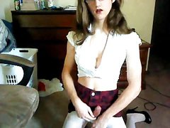 Teen boy dressed as girl shows off