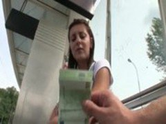 Petite eurobabe pussy pounded for money while waiting for the tram
