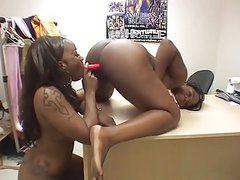 Sexy ebony teens strap on fun.