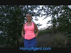 HornyAgent Russian blonde gets fucked in the bushes