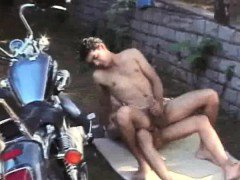 Bareback Fucking And Cumming By The Motorcycle Latinos