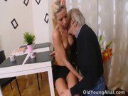 Nelya gets her breasts licked by older man