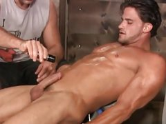 restrained gay handjob 2