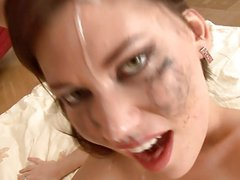 Russian slut makes a mess of herself from deepthroating DTD