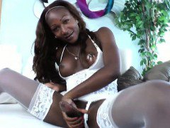 Smoking ebony shemale masturbates