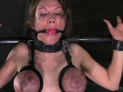 Filthy sub in tit bondage getting toyed