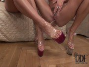 Two horny blonde foot-worshipping lesbian babes in action