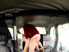 Beautiful brunette amateur in fake taxi fucking