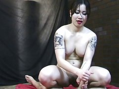 Asian girl jerks White cock