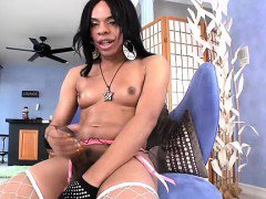 Ebony shemale jerking and cumming