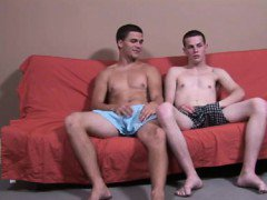 Gay clip of Kneeling on the side of the futon, Anthony bent