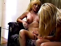 Blonde lesbians in jean shorts with great tits love to lick and fuck each other
