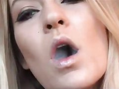 Smoking blond girl - Close in your face