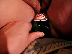 Fucking a BBW friend with a beer bottle