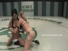 Blonde wrestles a horny Asian woman