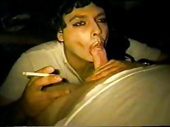 Crossdresser gives smoky BJ to a guy with a limp dick