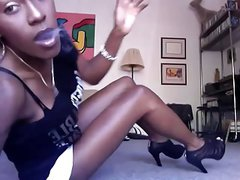 ebony smoking in heels